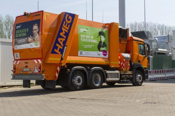 Gebrandetes Müllfahrzeug