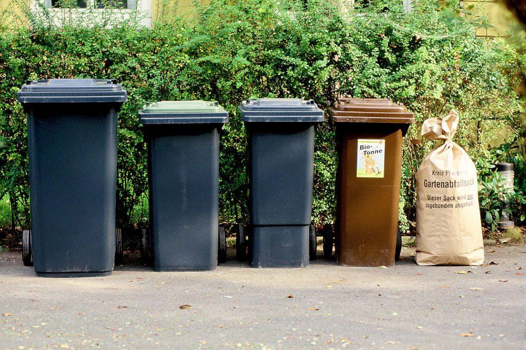 Aufgereihte Abfallbehälter neben Grünabfallsack