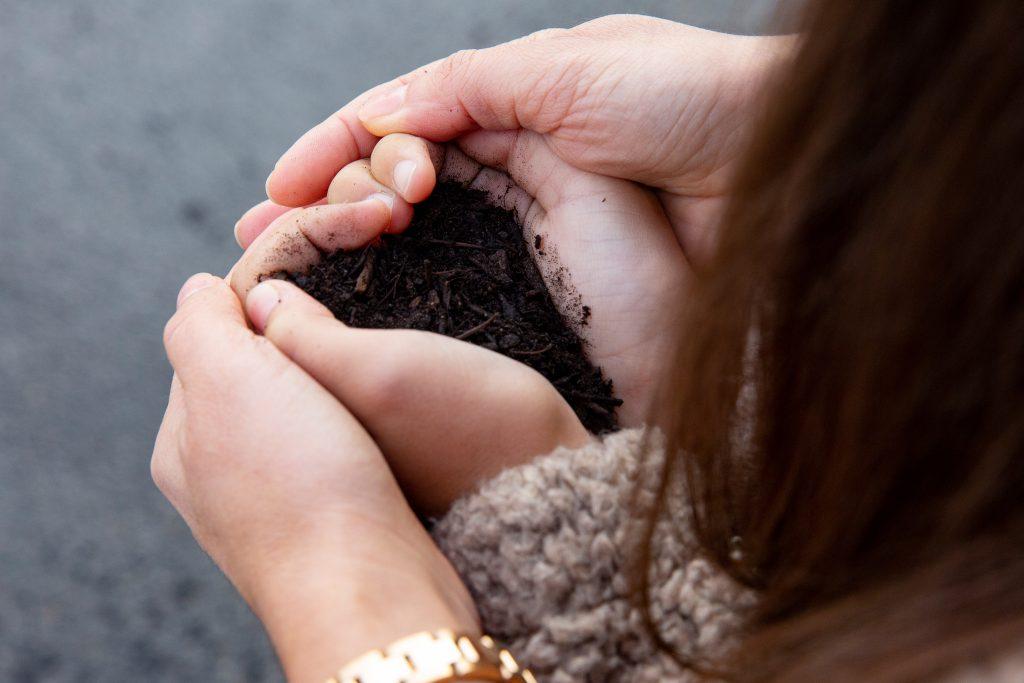 Hände halten gemeinsam Kompost