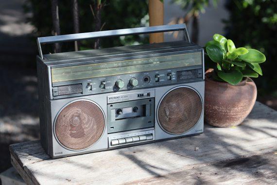 Retro-Radio neben Topfpflanze