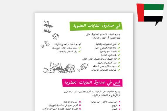 Biomüll-Sortierhilfe auf Arabisch