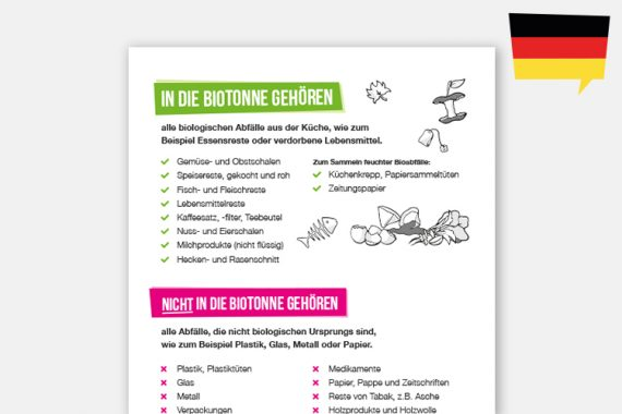 Biomüll-Sortierhilfe auf Deutsch