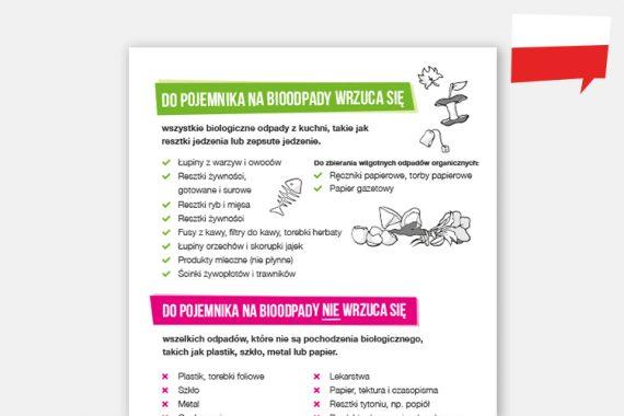 Biomüll-Sortierhilfe auf Polnisch