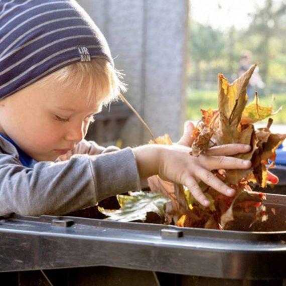 Junge gibt Laub in Biotonne